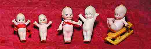 FOUR MINIATURE GERMAN BISQUE KEWPIES Marks  3 have