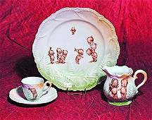 GERMAN PORCELAIN KEWPIE LUSTREWARE FERN PATTERN DISHES.