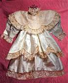 CREAM SILK DRESS FOR LARGE DOLLS  7  shoulder width