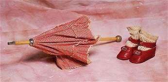 """ANTIQUE RED AND CREAM SILK PARASOL. 13"""" L. Red and"""