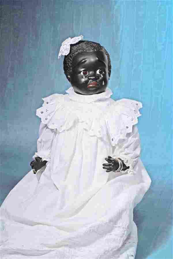 """BLACK COMPOSITION LEO MOSS-TYPE CHARACTER DOLL. 28""""."""