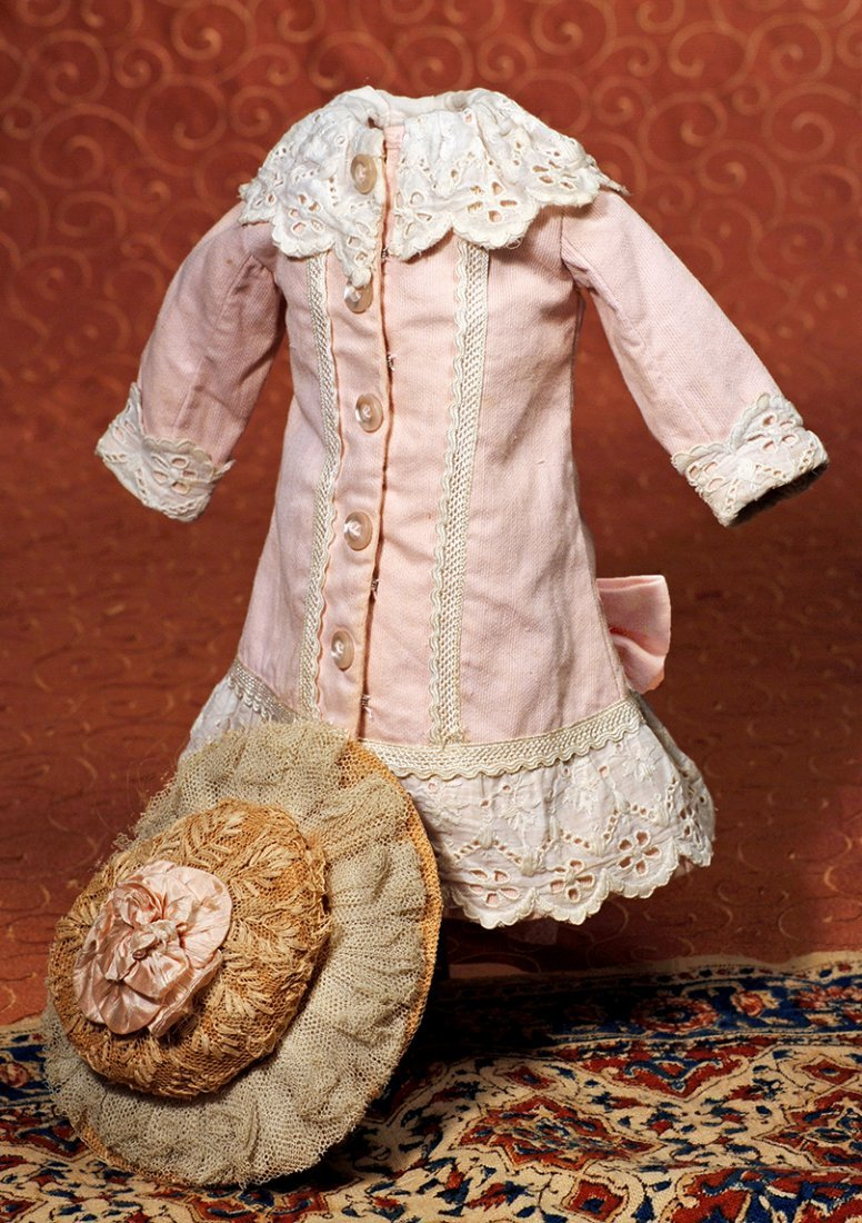 FRENCH STYLE PINK COTTON DRESS WITH ANTIQUE STRAW