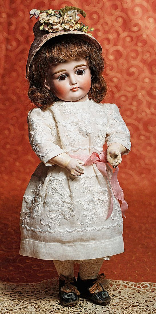 """PRETTY """"X"""" MODEL CLOSED-MOUTH BISQUE DOLL BY KESTNER"""