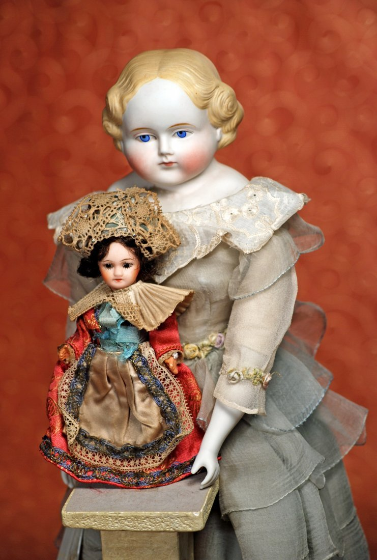 TINY FRENCH BISQUE DOLL IN ORIGINAL COSTUME