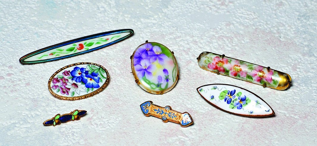 "SEVEN HANDPAINTED BEBE PINS. 1"" to 2 ½"".  Porcelain"