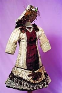 FRENCH STYLE BEBE DRESS. Pale beige silk patterned
