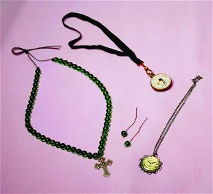 TWO ANTIQUE PENDANT WATCHES PLUS GREEN BEAD NECKLACE