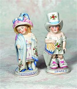 """GERMAN BISQUE """"MAMA AND PAPA"""" FIGURINES BY CONTA &"""