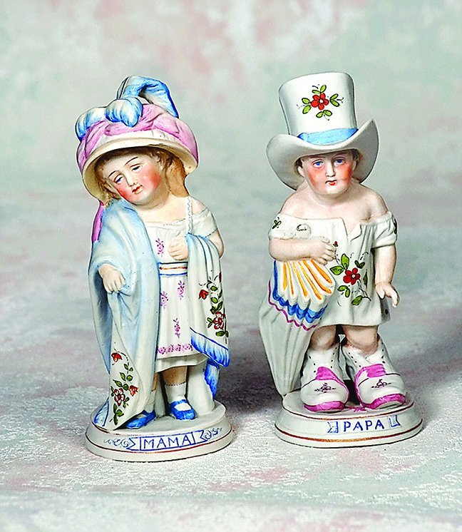 "GERMAN BISQUE ""MAMA AND PAPA"" FIGURINES BY CONTA &"