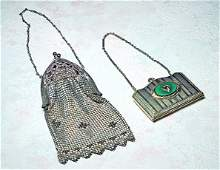 """ANTIQUE PURSE AND PURSE COMPACT. 7"""" mesh purse with"""
