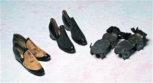 SALESMAN SAMPLE GALOSHES AND ROLLER SKATES. Two pair