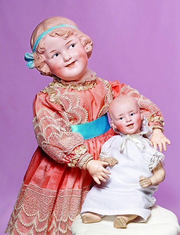 "BEAUTIFUL LARGE ""COQUETTE"" DOLL BY GEBRUDER HEUBACH."