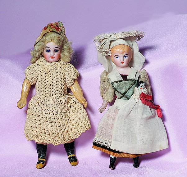 "MINIATURE GERMAN BISQUE DOLL.  Marks: 12a.  5 ½""."