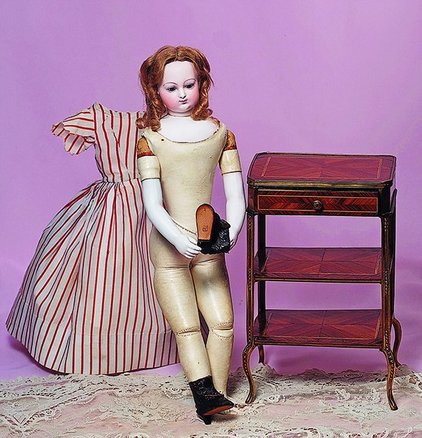 VERY RARE FRENCH BISQUE POUPEE BY BRASSEUR-VIDELIER.