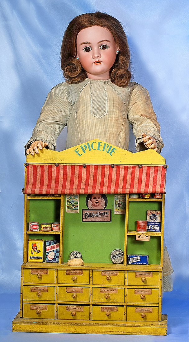 """FRENCH WOODEN """"EPICERIE"""" WITH TOY FOODS.20"""" H. x 16"""""""