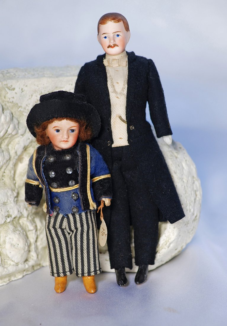 GERMAN BISQUE DOLLHOUSE MAN WITH MUSTACHE AND ORIGINAL