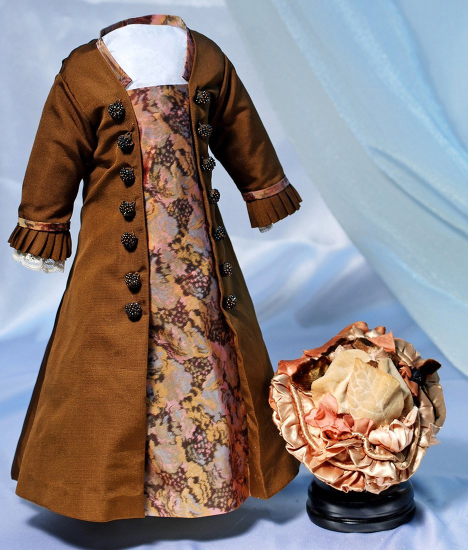 DOLL DRESS AND BONNET.Brown silk faille coat-style