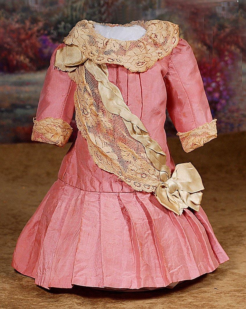 "ANTIQUE ROSE-PINK SILK BEBE DRESS.5"" across shoulders,"