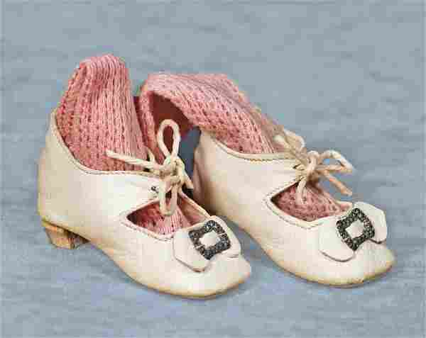 """PAIR ANTIQUE DOLL SHOES AND SOCKS.2 ½"""" L. pair of soft"""
