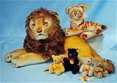 STEIFF LARGE LEO LION STEIFF TIGER AND FOUR MINIATURE