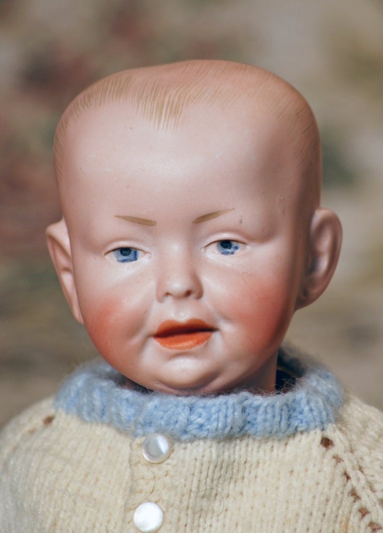GERMAN BISQUE CHARACTER BABY IN MYSTERY MAKER
