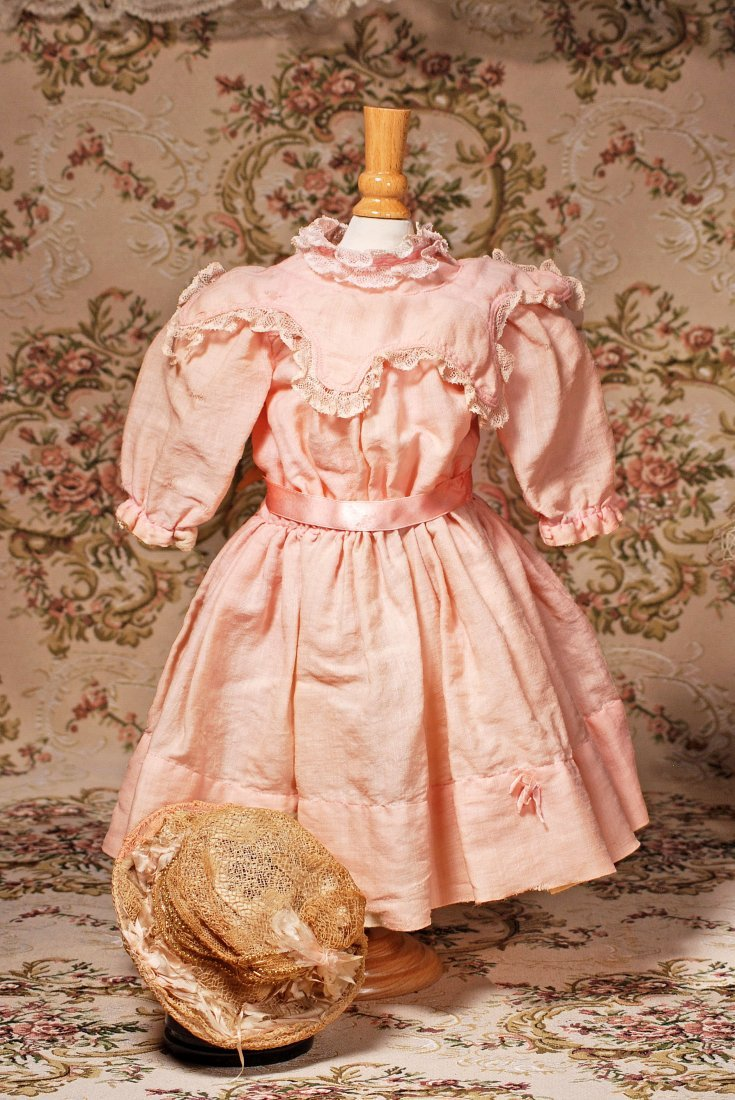 ANTIQUE PINK DOLL DRESS AND BONNET
