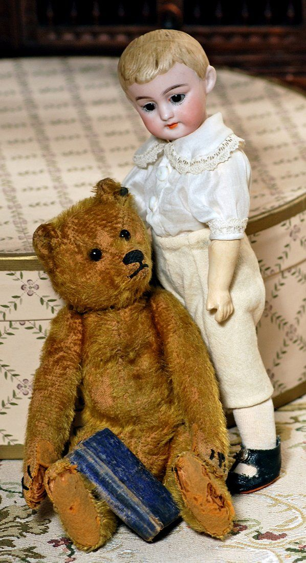 EARLY SMALL STEIFF TEDDY BEAR WITH PEWTER BUTTON