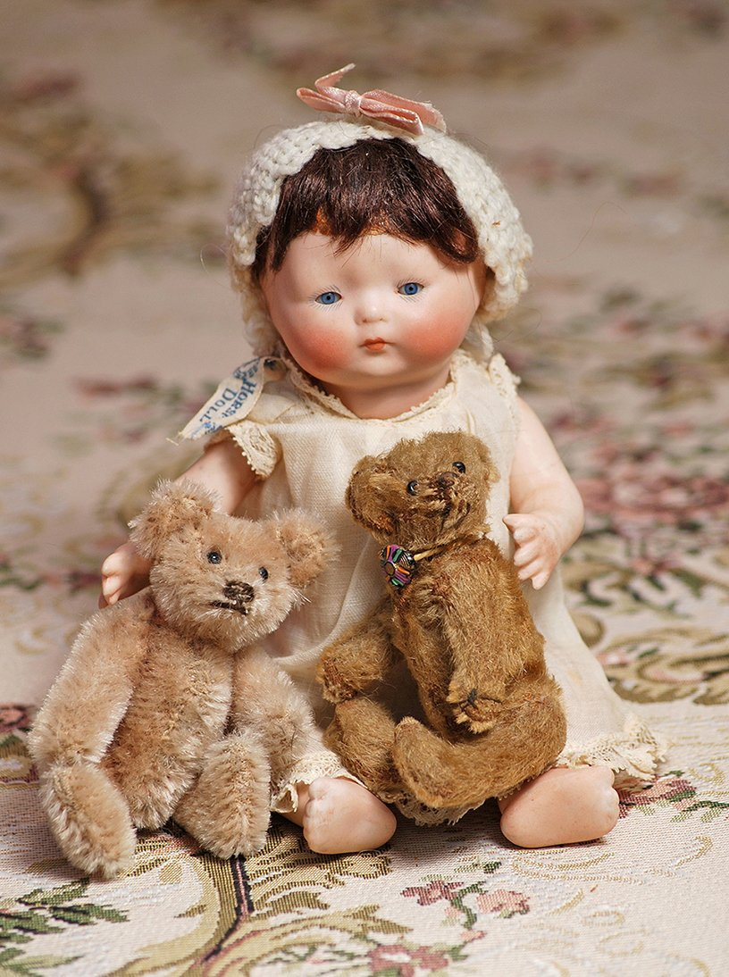 """GERMAN ALL-BISQUE """"TYNIE BABY"""" IN ORIGINAL DRESS BY"""