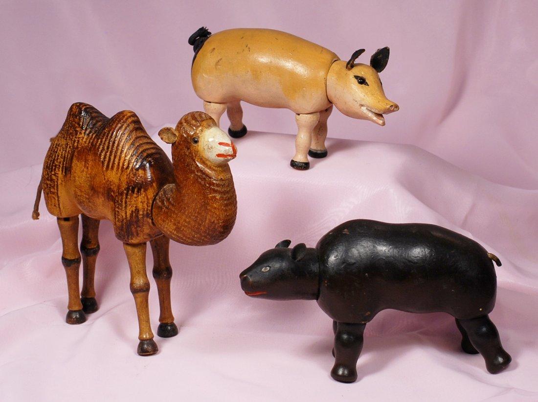THREE SCHOENHUT CARVED WOODEN ANIMALS