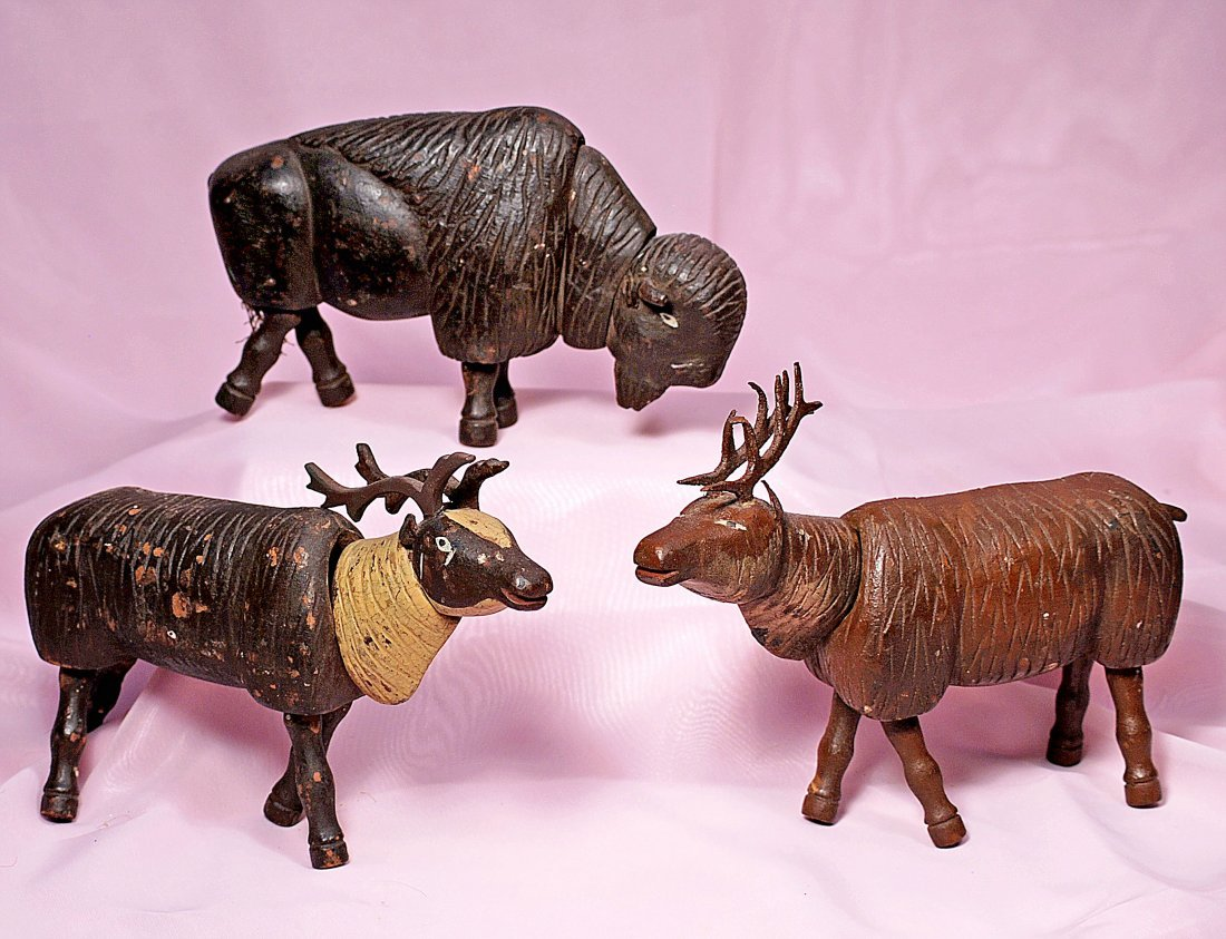 THREE SCHOENHUT-STYLE HANDMADE ANIMALS