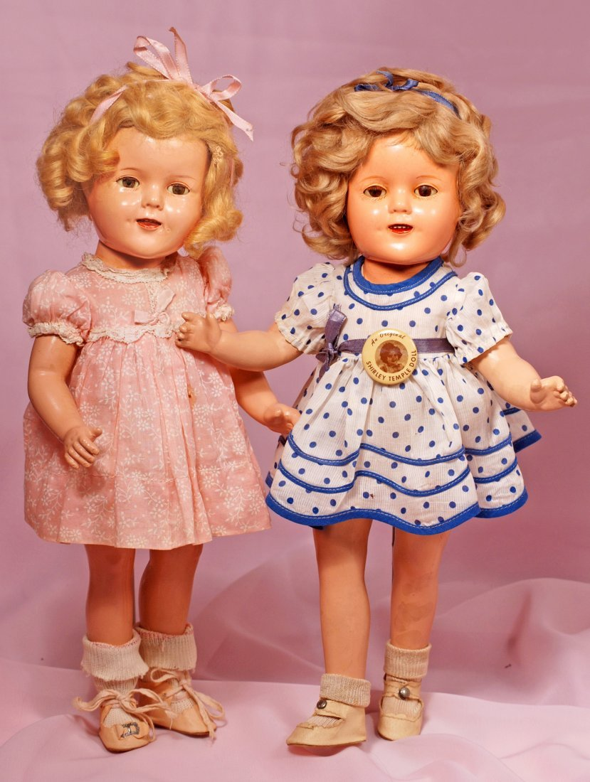 TWO COMPOSITION SHIRLEY TEMPLE DOLLS