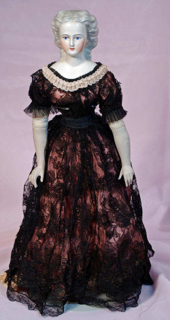 """TWO CHINA DOLLS: (1) 7"""" blonde-haired doll house doll,"""