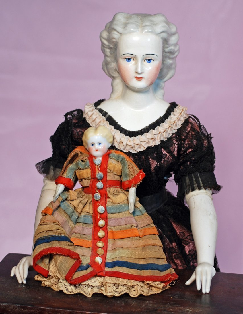 """TWO CHINA DOLLS: (1) 7"""" blonde-haired doll house doll, - 2"""