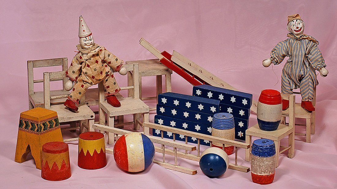 TWO SCHOENHUT CLOWNS & LARGE GROUP OF CIRCUS ACCESSORY