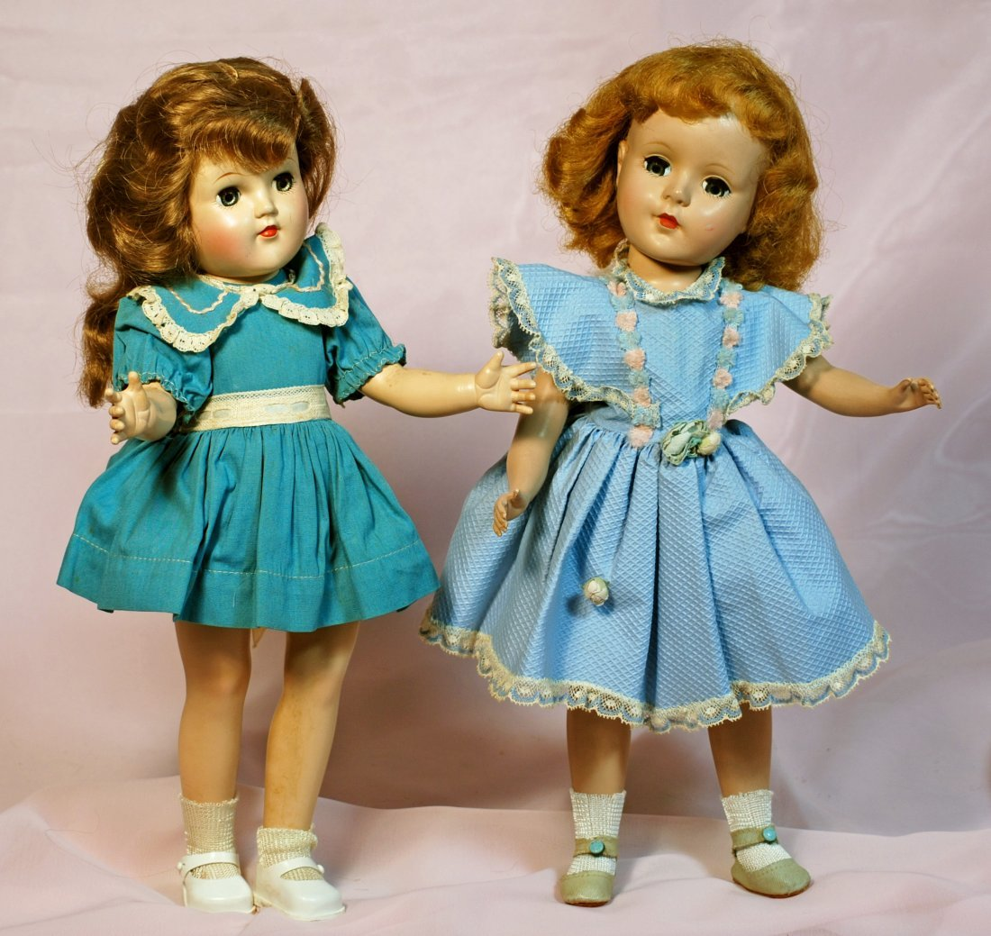 TWO AMERICAN HARD PLASTIC DOLLS