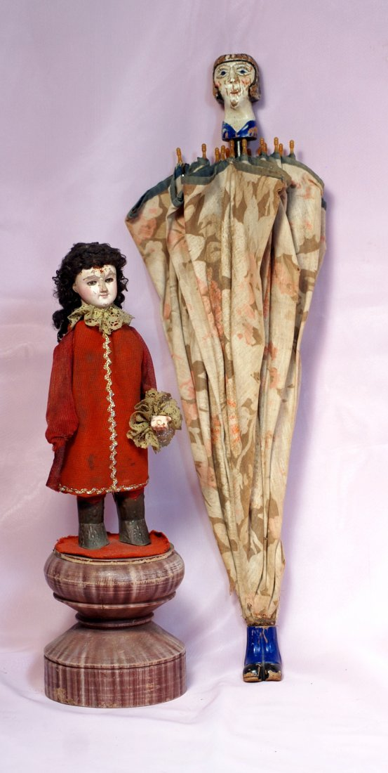 FRENCH CARVED WOODEN DOLL  &  UNUSUAL PARASOL WITH