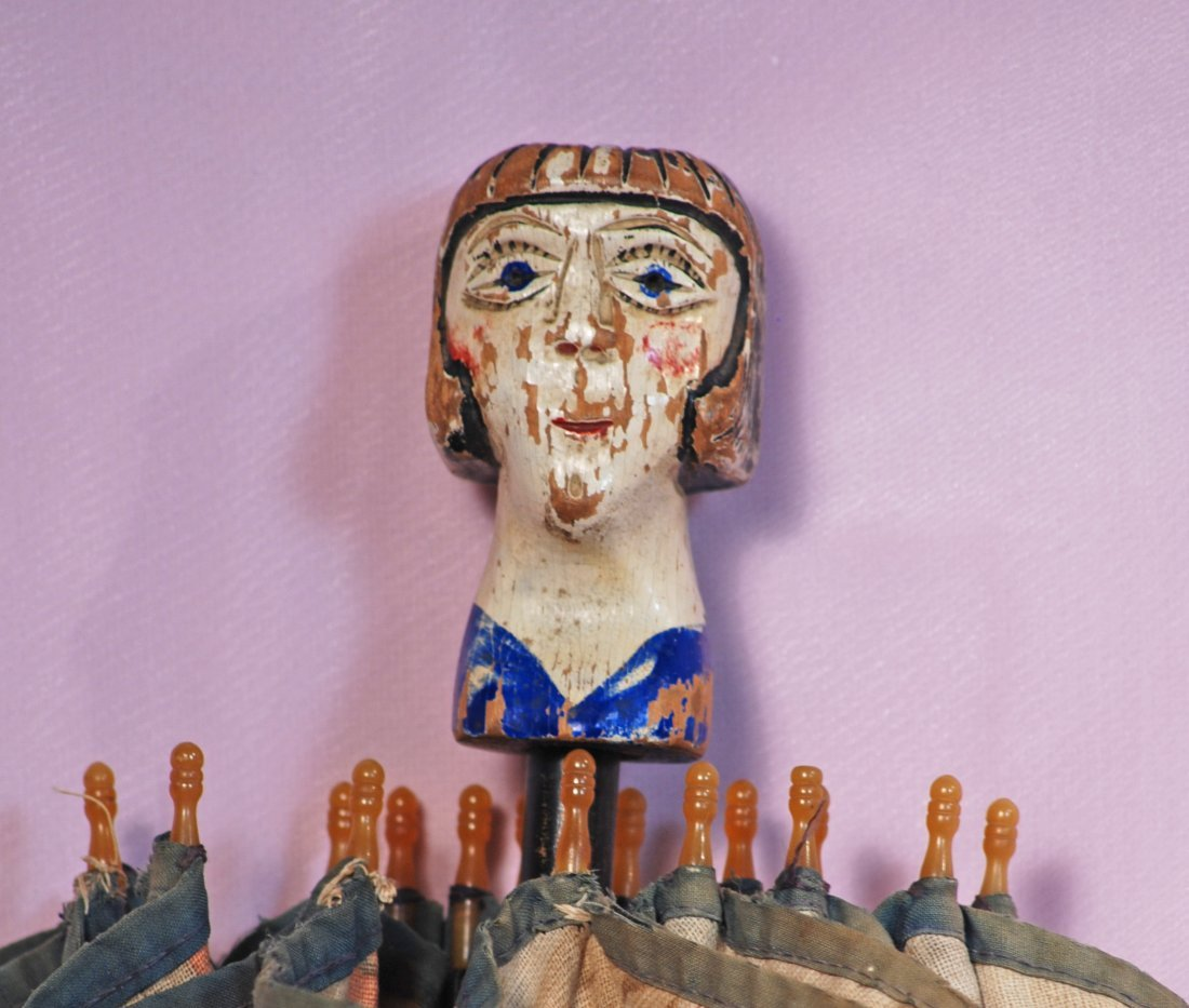 FRENCH CARVED WOODEN DOLL  &  UNUSUAL PARASOL WITH - 2
