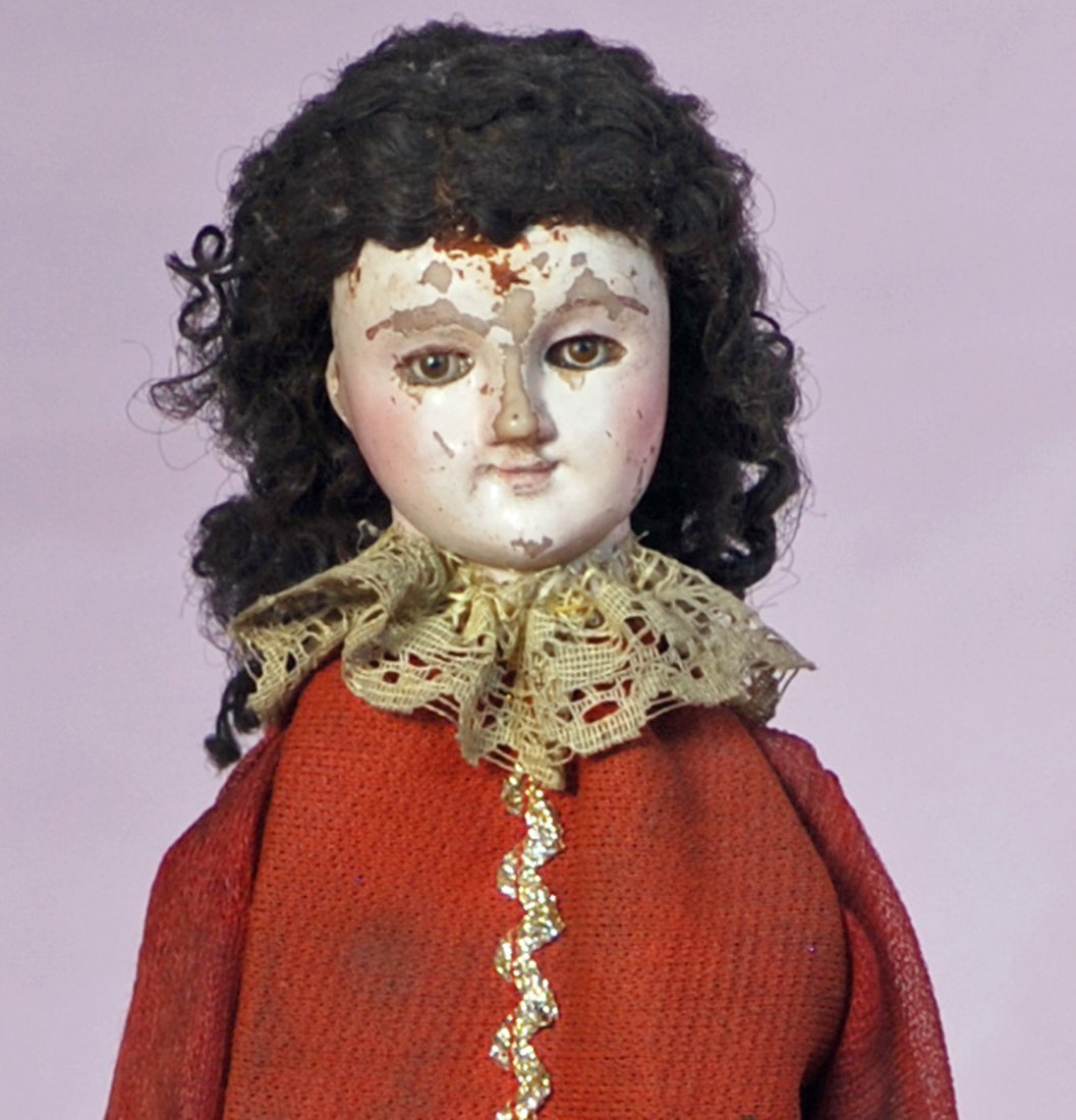 FRENCH CARVED WOODEN DOLL  &  UNUSUAL PARASOL WITH - 3