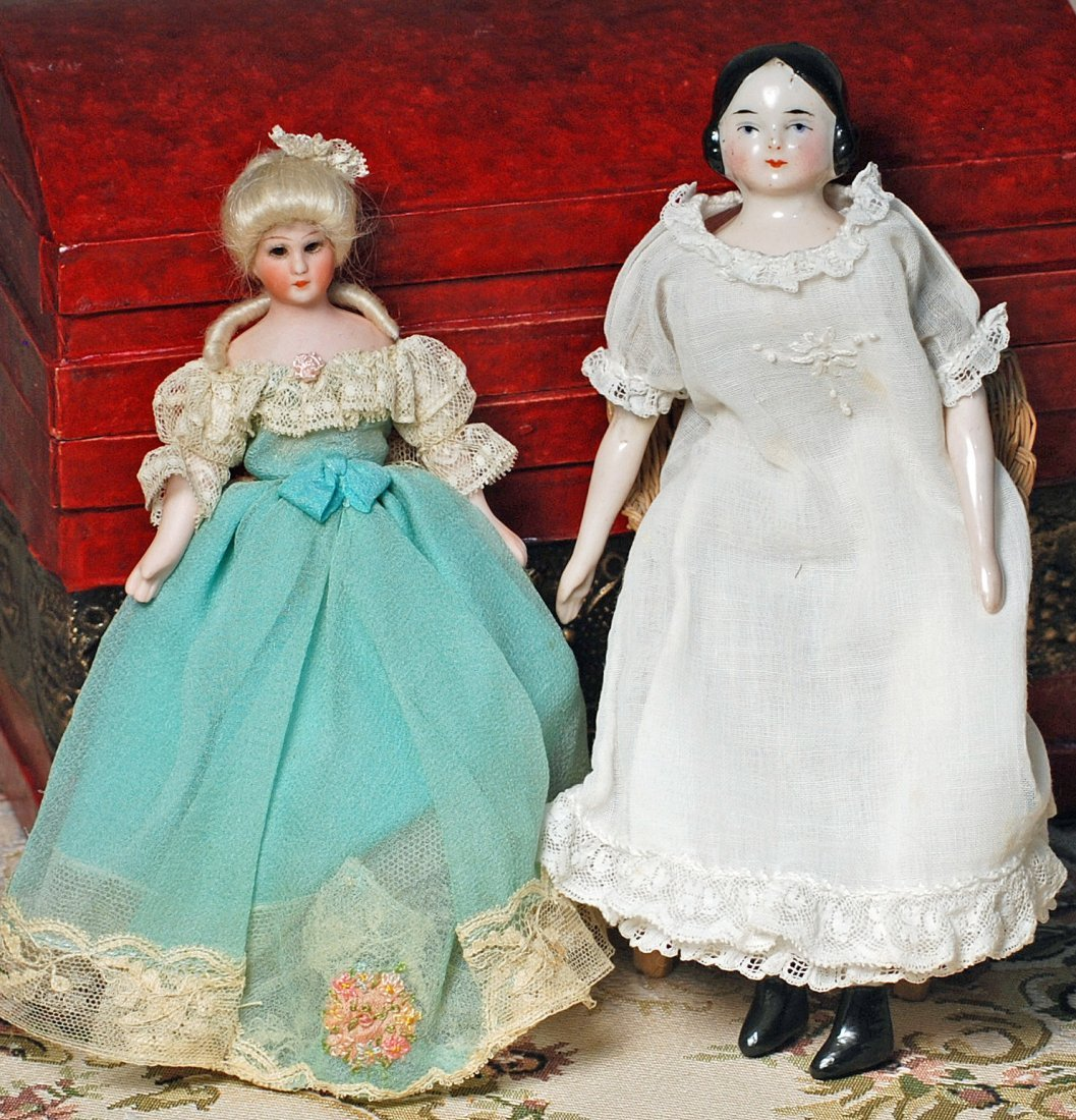 """GERMAN BISQUE """"LITTLE WOMEN"""" DOLL & SMALL CHINA DOLL."""