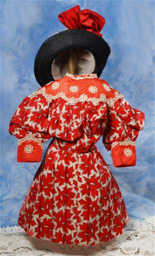 ANTIQUE RED AND WHITE SILK DOLL DRESS WITH ANTIQUE BON