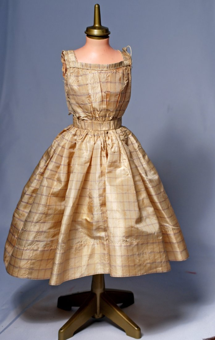 ANTIQUE SILK FASHION DRESS.