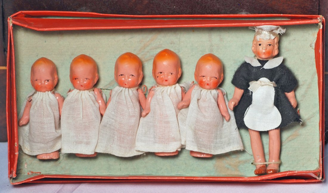 BOXED MINIATURE SET OF ALL-BISQUE DIONNE QUINTUPLET