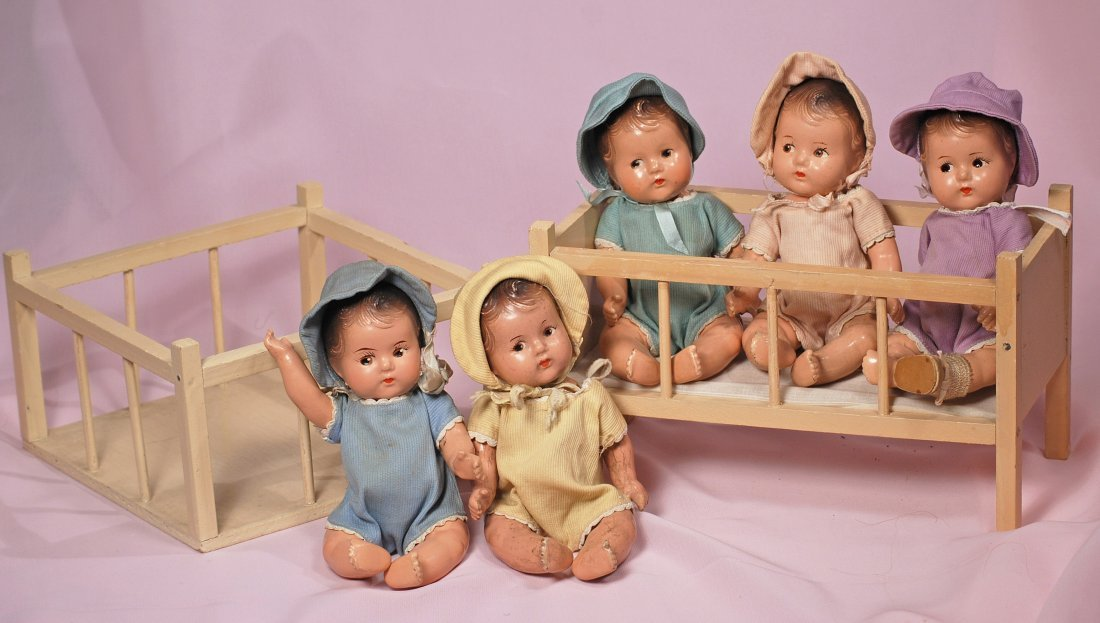 ALEXANDER DIONNE QUINT COMPOSITION DOLLS, BED, PLAYPEN