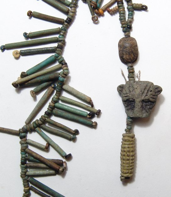 Egyptian beaded necklace with amulets and a scarab - 2