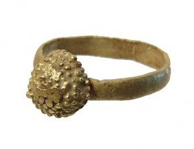 Roman Gold Child's Ring With A Berry-like Decoration