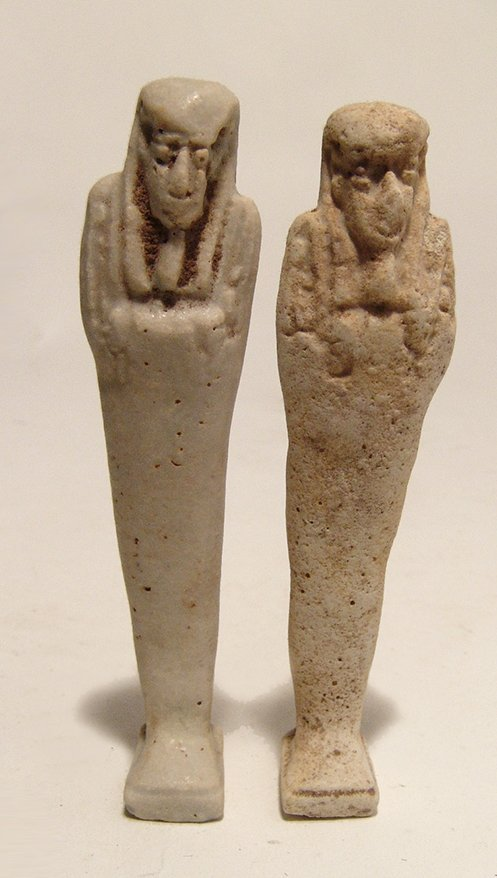 A pair of Egyptian faience ushabtis, Late Period