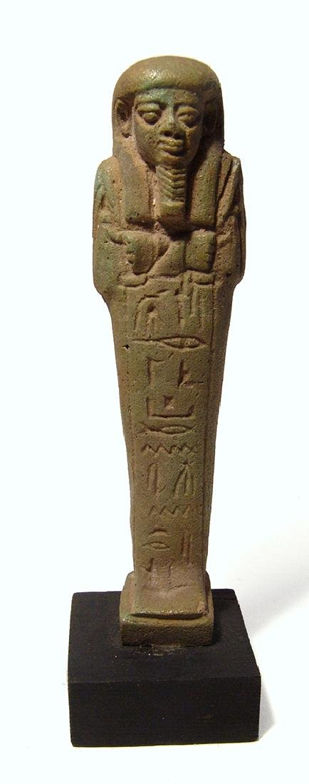 A handsome Egyptian green glazed faience ushabti