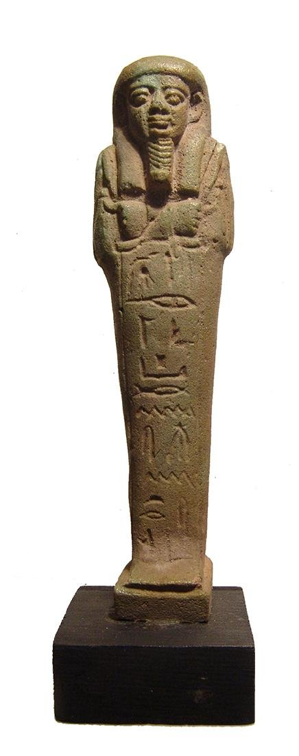 A handsome Egyptian green glazed faience ushabti - 3
