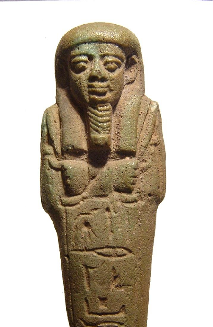 A handsome Egyptian green glazed faience ushabti - 4
