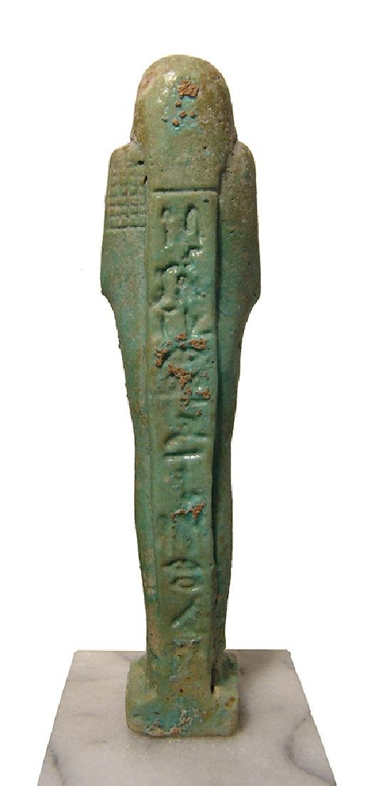 A beautiful Egyptian pale blue-green faience ushabti - 3